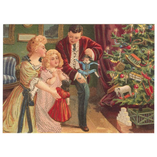 Victorian Family XL Embossed Christmas Postcard ~ Germany