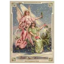 Christmas Angels XL Embossed Christmas Postcard ~ Germany
