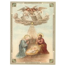 Heavenly Nativity XL Embossed Christmas Postcard ~ Germany