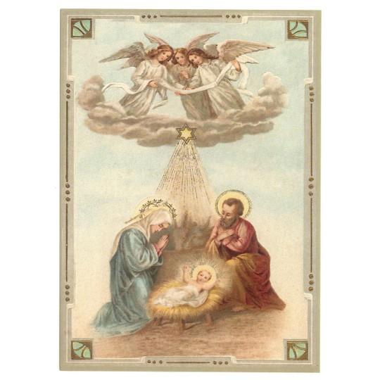Heavenly Nativity XL Embossed Christmas Postcard ~ Germany
