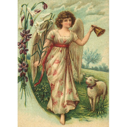 Victorian Easter Angel and Lamb XL Embossed Easter Postcard ~ Germany