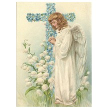 Angel with Floral Cross XL Embossed Easter Postcard ~ Germany