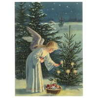 Angel Lighting the Tree XL Embossed Christmas Postcard ~ Germany