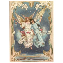 Angels and Lilies XL Embossed Postcard ~ Germany
