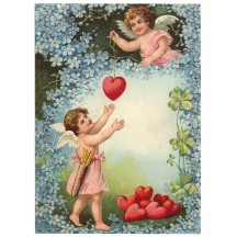 Valentine Angels XL Embossed Valentine Postcard ~ Germany