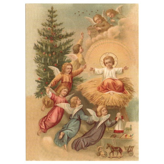 Angel's Nativity XL Embossed Christmas Postcard ~ Germany