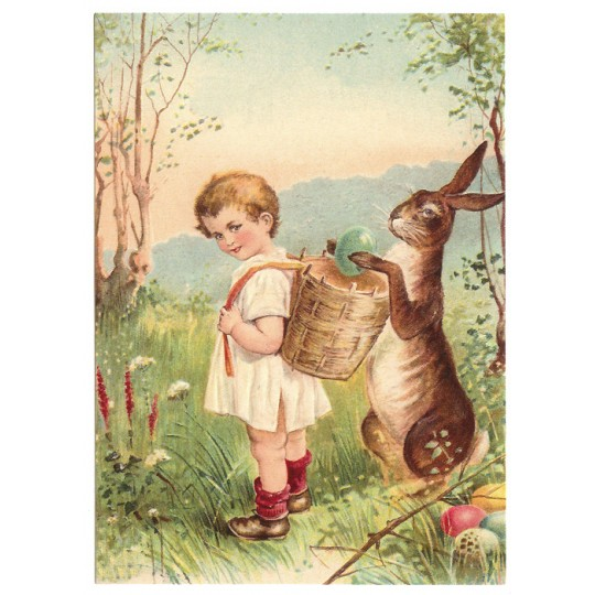 Easter Egg Delivery XL Embossed Easter Postcard ~ Germany