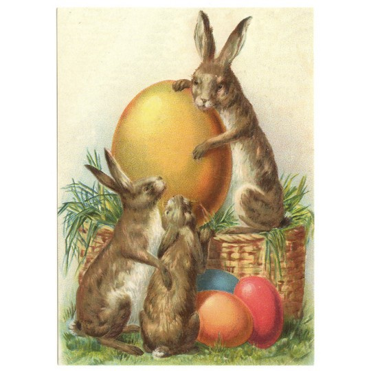 Bunnies with Eggs XL Embossed Easter Postcard ~ Germany