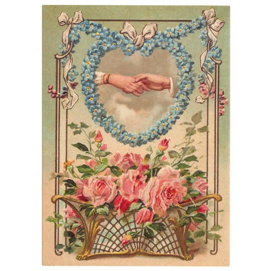 Valentine Calling Card XL Embossed Valentine Postcard ~ Germany
