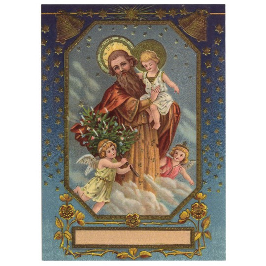 Heavenly Family XL Embossed Christmas Postcard ~ Germany