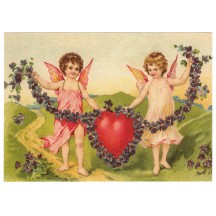 Violets and Angels XL Embossed Valentine Postcard ~ Germany
