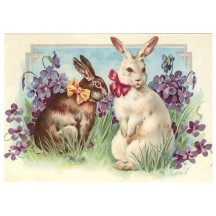Bunnies with Violets XL Embossed Easter Postcard ~ Germany