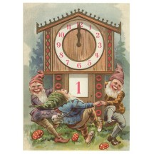 Gnome New Year XL Embossed Postcard ~ Germany