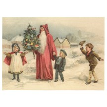Santa with Children XL Embossed Christmas Postcard ~ Germany