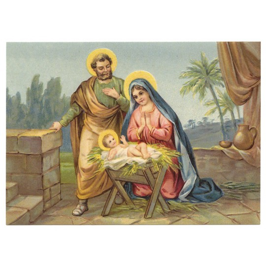 Holy Family Nativity XL Embossed Christmas Postcard ~ Germany