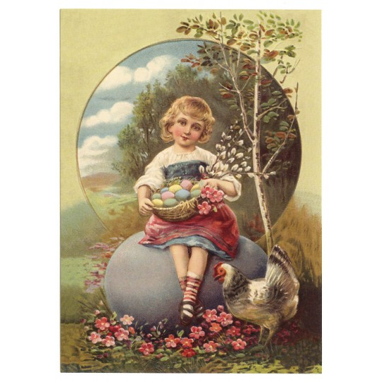 Victorian Easter XL Embossed Easter Postcard ~ Germany