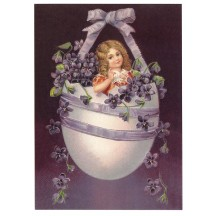Victorian Violets Easter Egg XL Embossed Easter Postcard ~ Germany