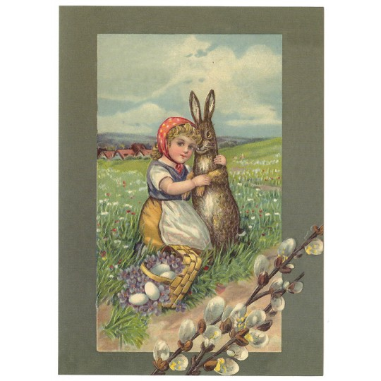 Country Easter Bunny XL Embossed Easter Postcard ~ Germany
