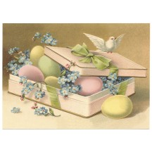 Pastel Easter Eggs XL Embossed Easter Postcard ~ Germany