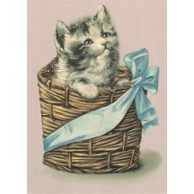 Cats in a Basket XL Embossed Easter Postcard ~ Germany