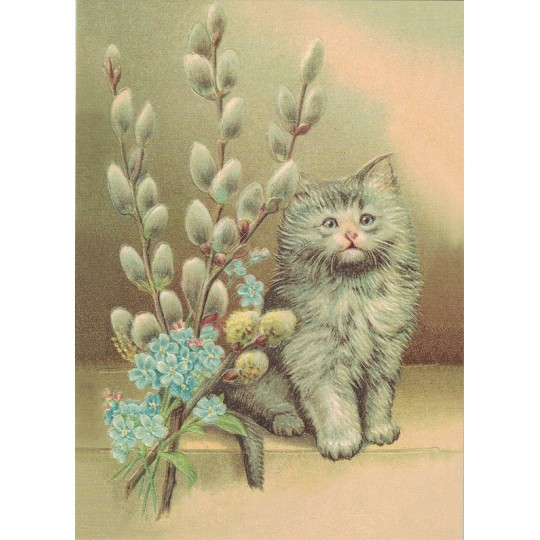Cat with Pussy Willows XL Embossed Easter Postcard ~ Germany
