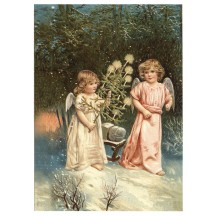 Snowy Forest Angels XL Embossed Christmas Postcard ~ Germany