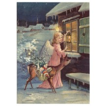 Angel with Deer XL Embossed Christmas Postcard ~ Germany