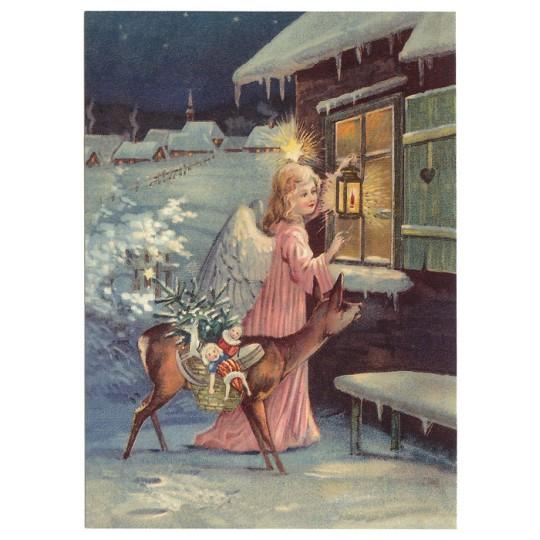 Angel with Deer XL Embossed Christmas Postcard ~ Germany
