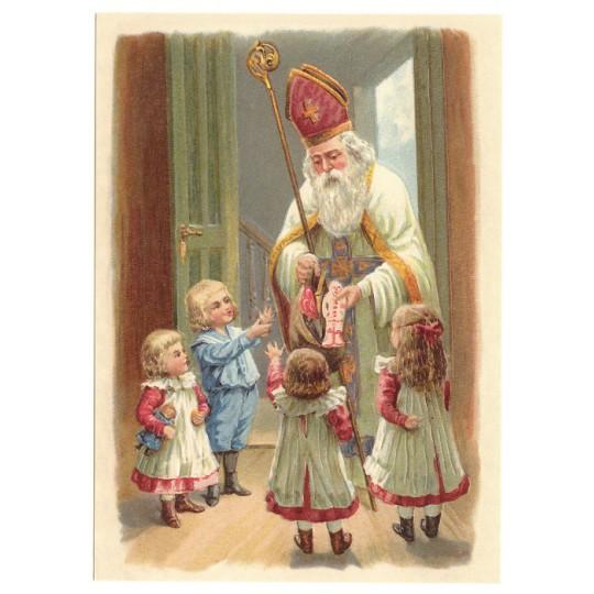 Saint Nicholas XL Embossed Christmas Postcard ~ Germany