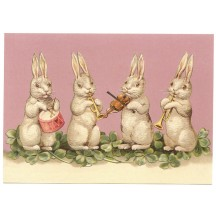 Easter Bunny Band XL Embossed Easter Postcard ~ Germany