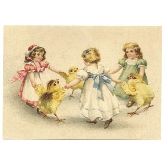 Easter Dance XL Embossed Easter Postcard ~ Germany