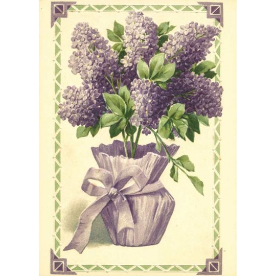 Lilacs in a Basket XL Embossed Floral Postcard ~ Germany