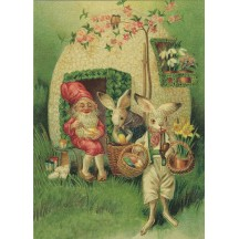 Bunnies with Gnome XL Embossed Easter Postcard ~ Germany
