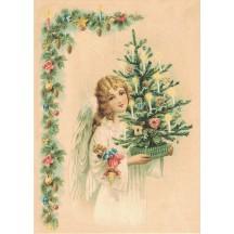 Pretty Angel with Christmas Tree XL Embossed Christmas Postcard ~ Germany