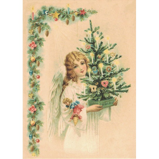 Pretty Angel with Christmas Tree XL Embossed Christmas Postcard ~ Germany