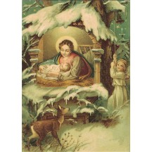 Mary and Jesus with Deer and Angel XL Embossed Christmas Postcard ~ Germany