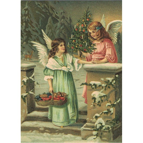 Angels with Tree and Fruit Basket XL Embossed Christmas Postcard ~ Germany