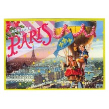 Bonjour de Paris Large Hot Air Balloon Postcard ~ Germany
