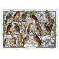 Large Owls on Branches Postcard ~ Germany
