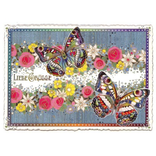 Large Butterflies and Flowers Postcard ~ Germany