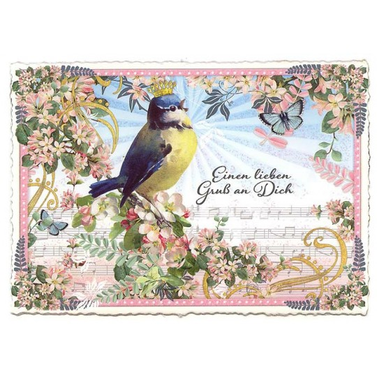 Large Bird with Flowers and Music Postcard ~ Germany