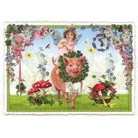 Large Lucky Pig and Cherub with Mushrooms Postcard ~ Germany