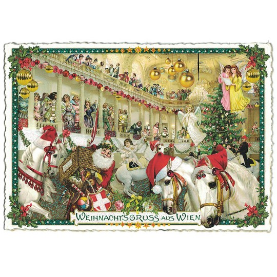 Christmas in Vienna Lipizzaner Stallions Large Postcard ~ Germany
