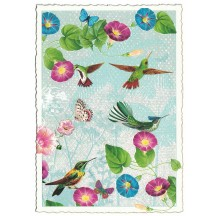 Hummingbirds and Morning Glories Glittered Postcard ~ Germany