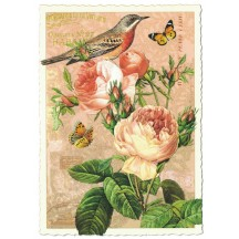 Pale Roses and Bird Collage Large Postcard ~ Germany
