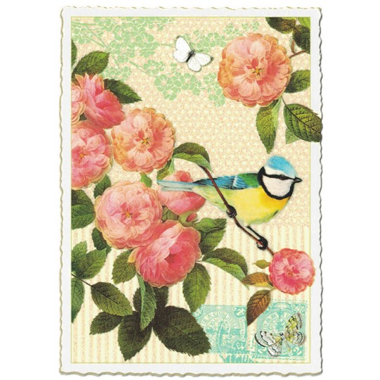 Camelias and Bird Collage Large Postcard ~ Germany