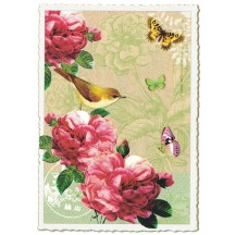 Deep Camelias and Bird Collage Large Postcard ~ Germany