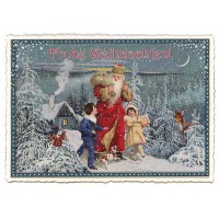 Blue Children and Santa Large Postcard ~ Germany