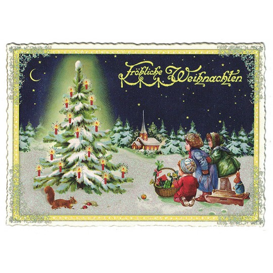 Children with Christmas Tree Large Postcard ~ Germany