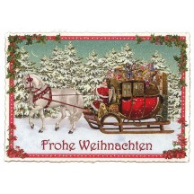 Horse-drawn Sleigh Toy Delivery Large Postcard ~ Germany